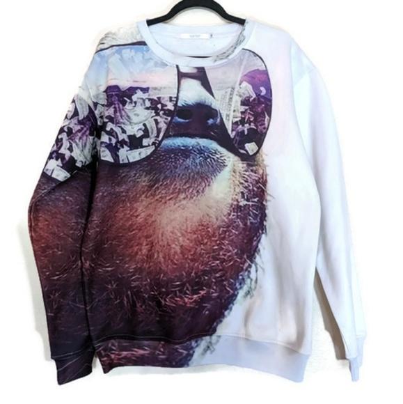 shelfies tops sloth sunglasses and money sweatshirt sz m poshmark